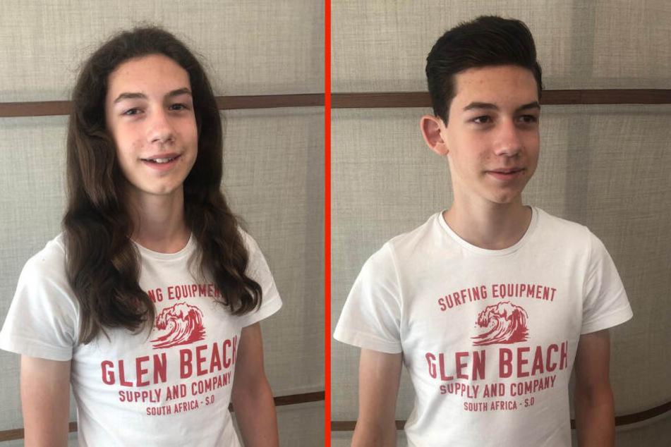 Vorher-Nachher-Vergleich: Lukas mit langen und später mit kurzen Haaren.