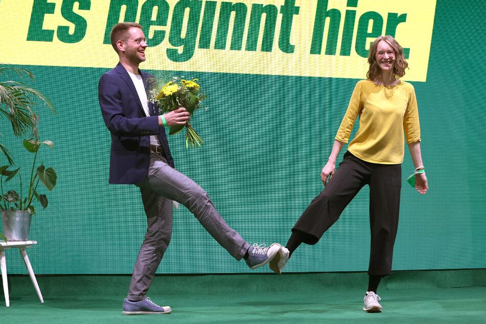 Die Landesvorsitzenden der bayerischen Grünen Eva Lettenbauer (28) und Thomas von Sarnowski (33).