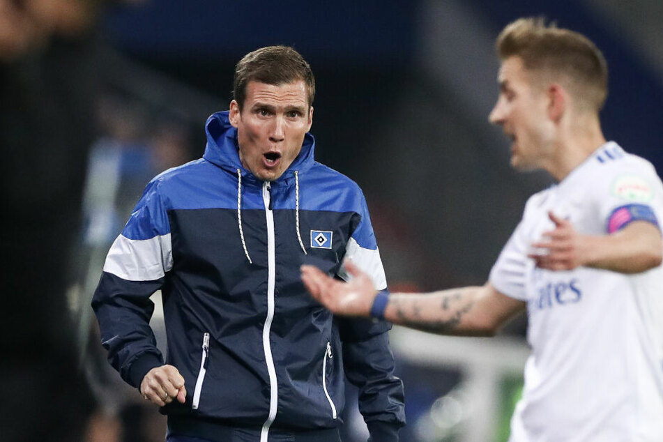 Trainer Hannes Wolf versucht Kapitän Lewis Holtby Anweisungen zu geben.