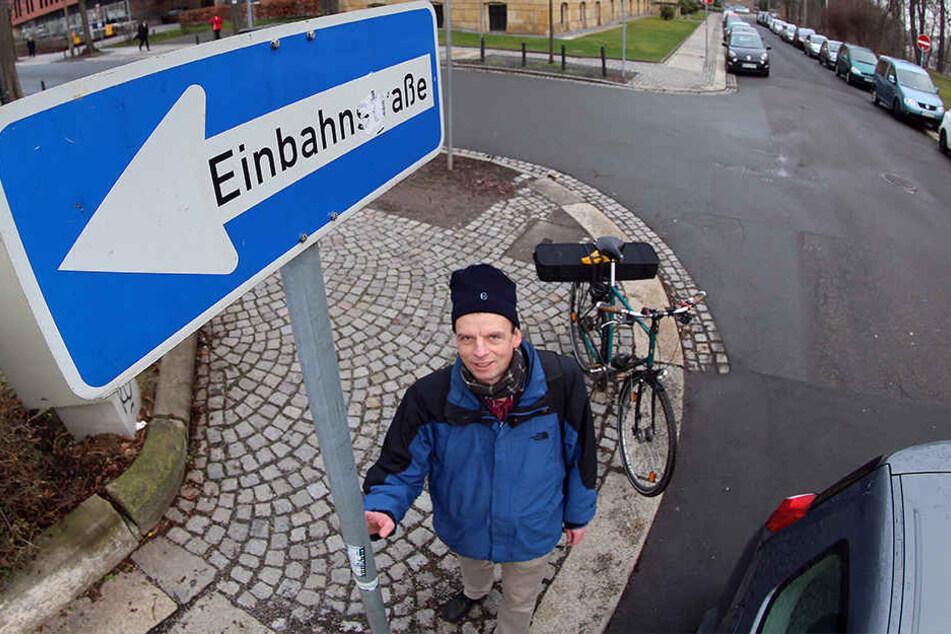 Ralph Sonntag vom ADFC setzt sich schon seit längerer Zeit für die Öffnung von Einbahnstraßen für Radfahrer ein.