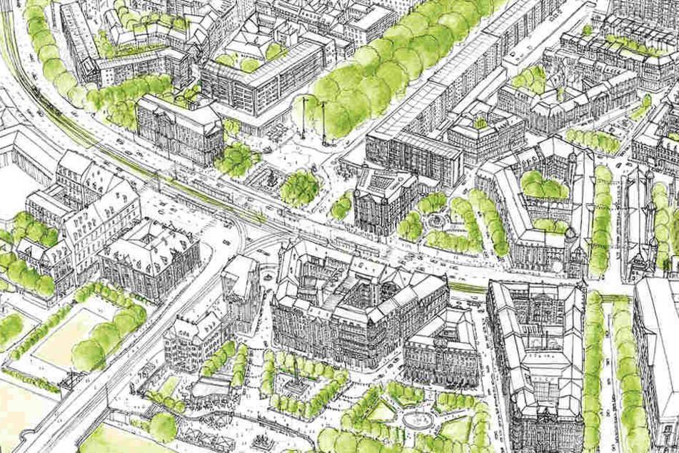 """So stellt sich """"Stadtbild Dresden"""" die künftige Gestaltung rund um den Neustädter Markt vor."""