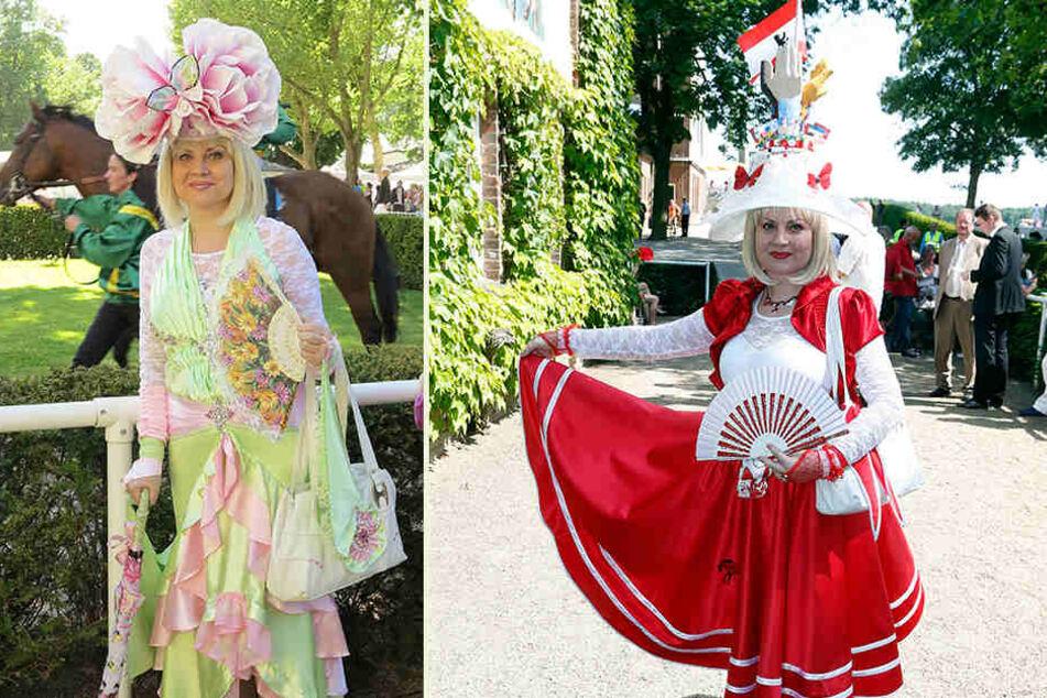 Die Leipzigerin Katharina Dietrich (59) kleidet sich für jedes Pferderennen extra schick - meist in den Landesfarben. Die Hüte und Kleider fertigt sie selbst.