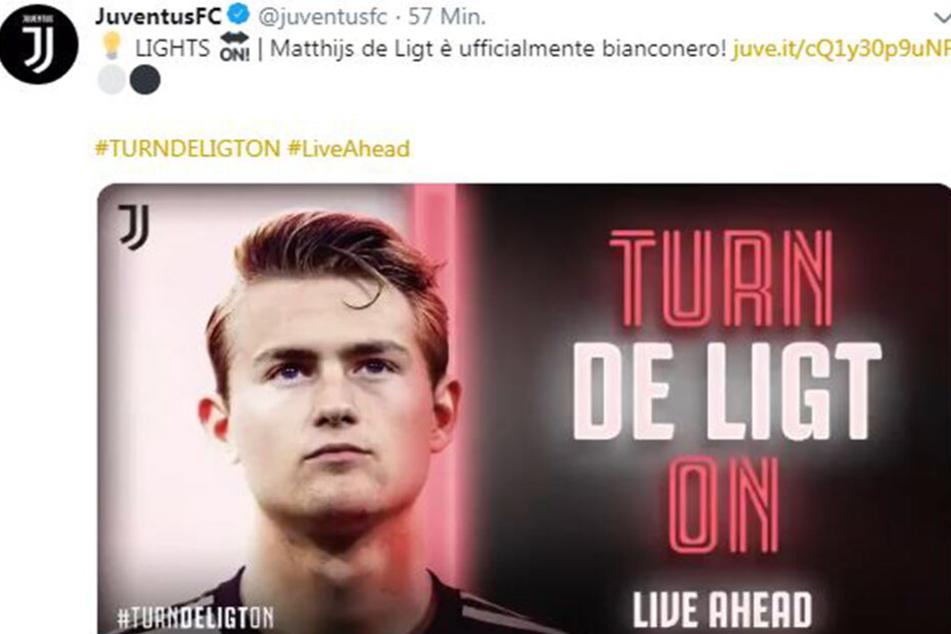 """""""Turn De Ligt on"""": Juventus Turin präsentiert stolz sein neues Abwehr-Juwel auf Twitter."""