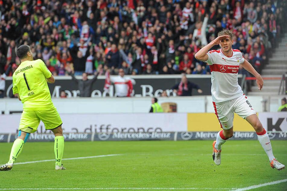 Gegen niemanden trifft er so oft: Simon Terodde machte im 3:1-Hinspiel alle drei Treffer.
