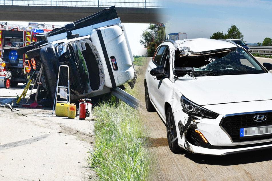 Heftiger Unfall auf der A4: Hyundai und Transporter sind Schrott