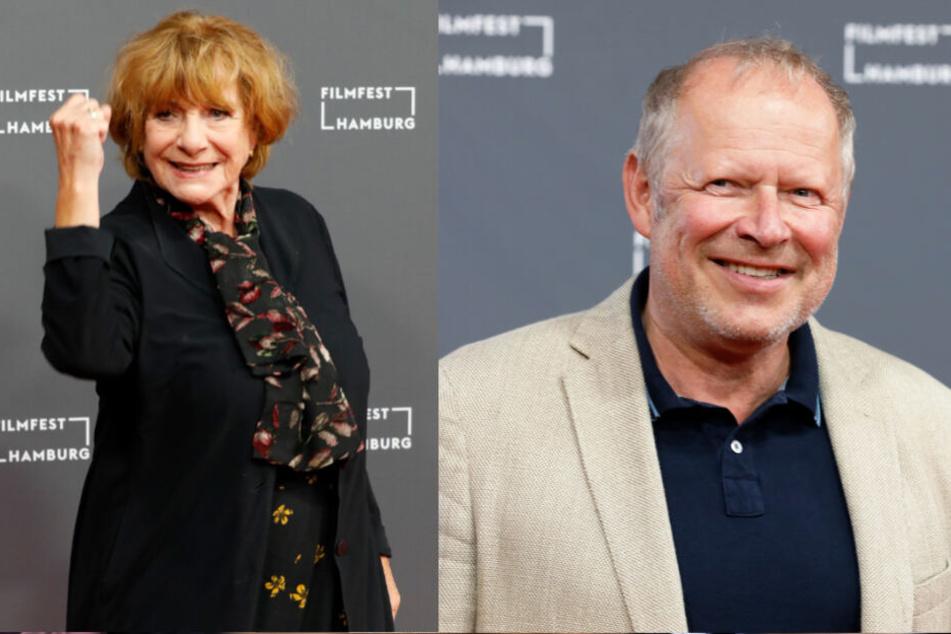 Die Schauspieler Hannelore Hoger und Axel Milberg stehen auf dem Roten Teppich.