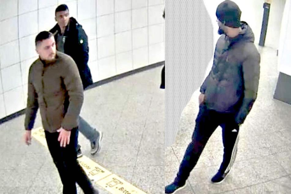 Das linke Bild zeigt einen Tatverdächtigen und seinen Begleiter, rechts ist einer der Haupttäter zu sehen.