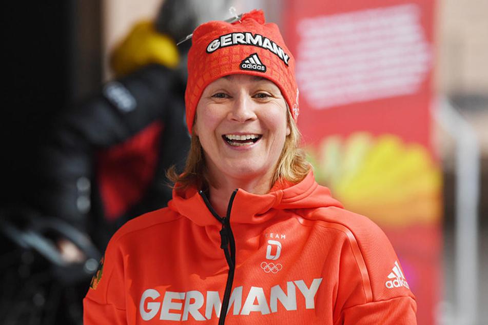 Eisschnellläuferin Claudia Pechstein bei den olympischen Winterspielen in Pyeongchang.