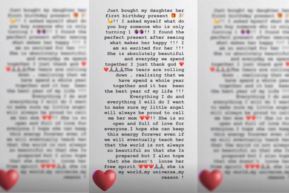 Der Screenshot zeigt den Text, welchen Motsi Mabuse als Instagram-Story veröffentlichte.