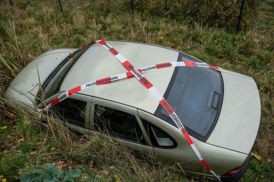 Von der Straße aus ist nur das Dach des Opel zu sehen.