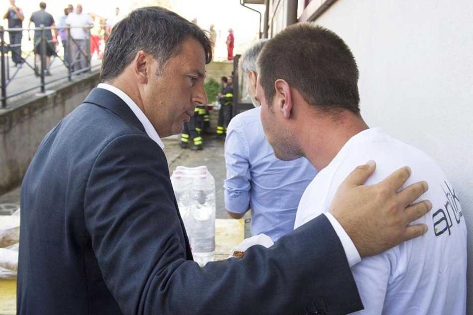 Italiens Regierungschef Matteo Renzi besuchte die Krisenregion am Abend.