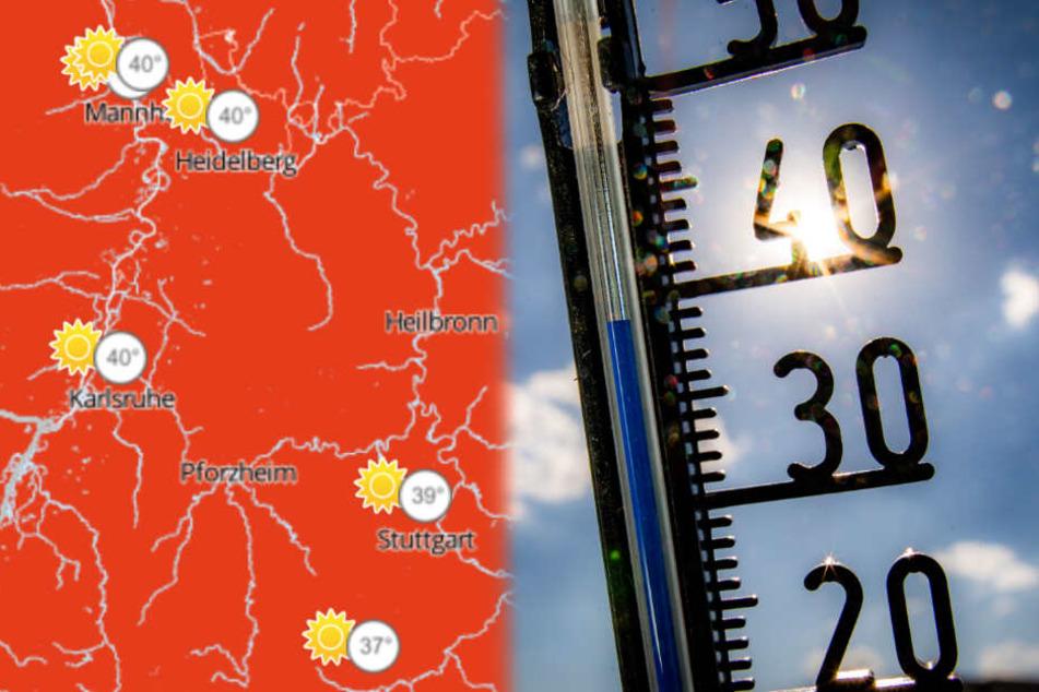 Vor allem in den Regionen um Mannheim und Karlsruhe herum wird es sehr, sehr heiß. (Fotomontage)