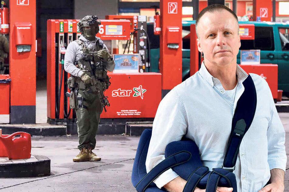 Kommissariatsleiter Olaf Dalicho (51, mit Manschette nach Sportverletzung) und sein Team fingen die Tankstellenräuber.