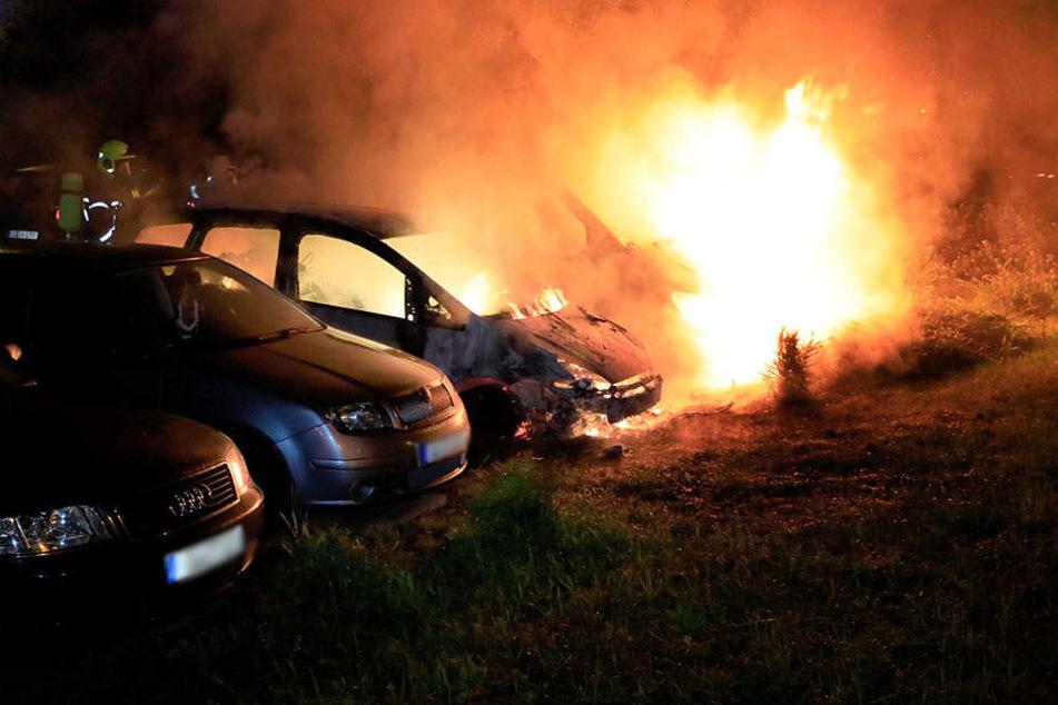 Durch die Flammen wurden mehrere Autos zerstört.