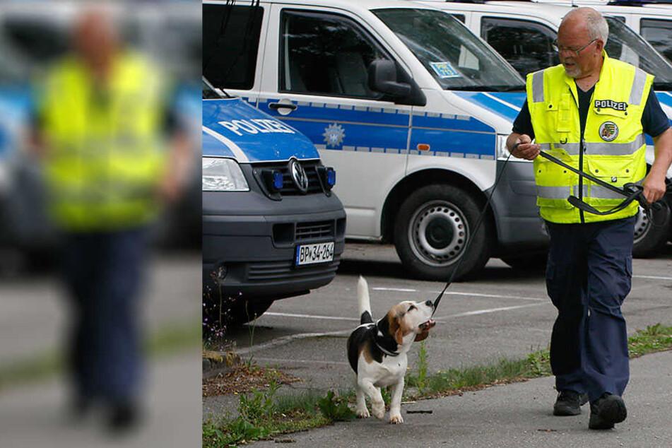 In Chemnitz versuchte die Polizei mit einem Fährtenhund den Tätern auf die Spur zu kommen, die zuvor versucht hatten, Fahrzeuge der Bundespolizei in Brand zu setzen.