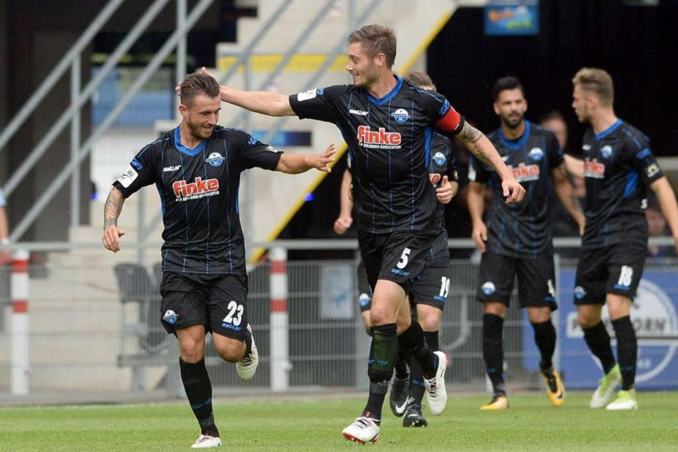 Torschützen unter sich: Robin Krausse traf zum 1:0 und SCP-Kapitän Christian Strohdiek zum 3:1-Endstand.