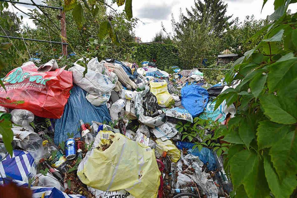Meterhoch türmt sich in der Gartensparte der Müll.