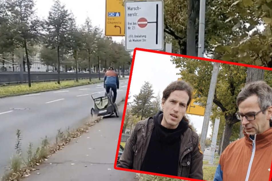 Für Fahrradfahrer wurde es vor kurzem eng auf der Jahnallee - jetzt hat Jürgen Kasek das Problem selbst in die Hand genommen.