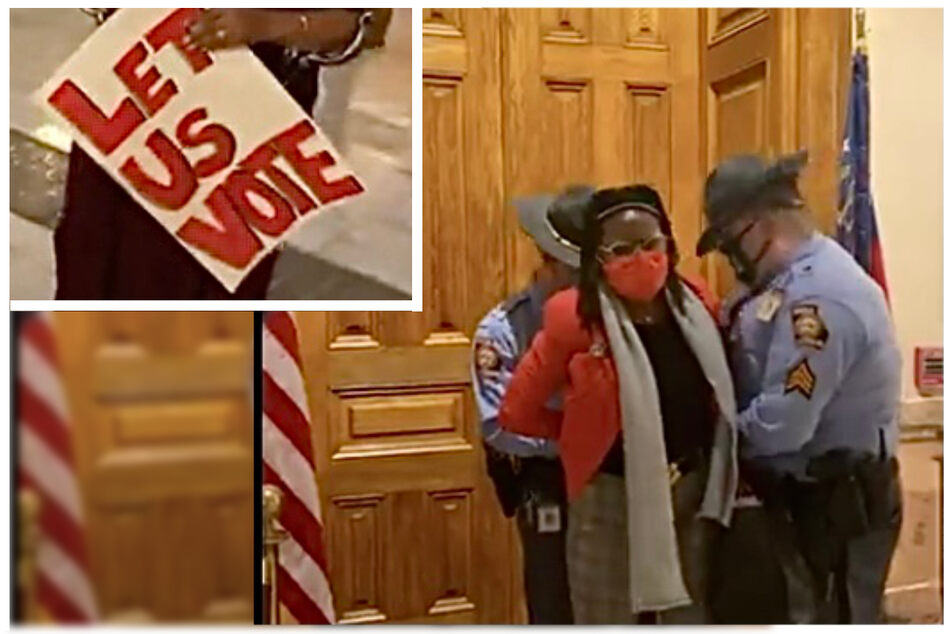 Georgia lawmaker dragged away from State Capitol in handcuffs for protesting a new voting law