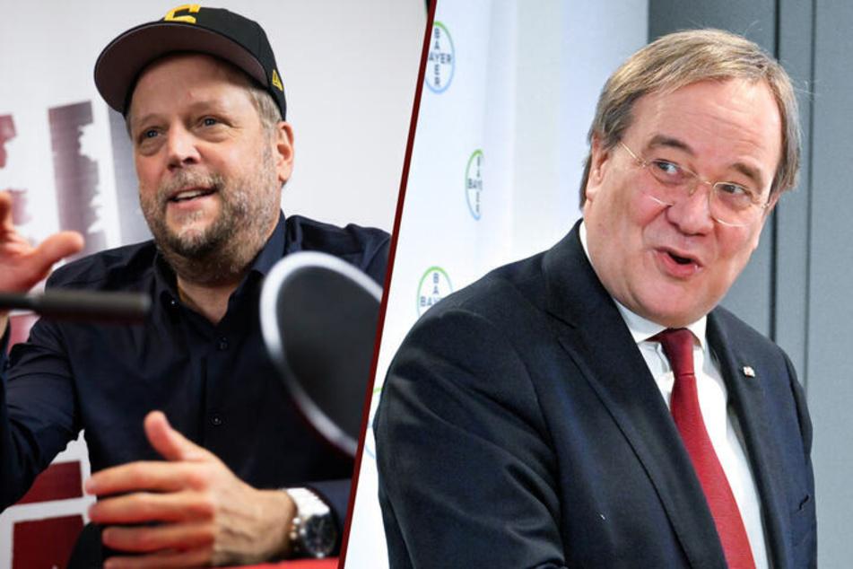 """Smudo (53, l.) und Armin Laschet (60, CDU) haben miteinander über die Corona-App """"Luca"""" geredet. Die Grünen wollen genaueres über das Telefonat erfahren. (Montage)"""