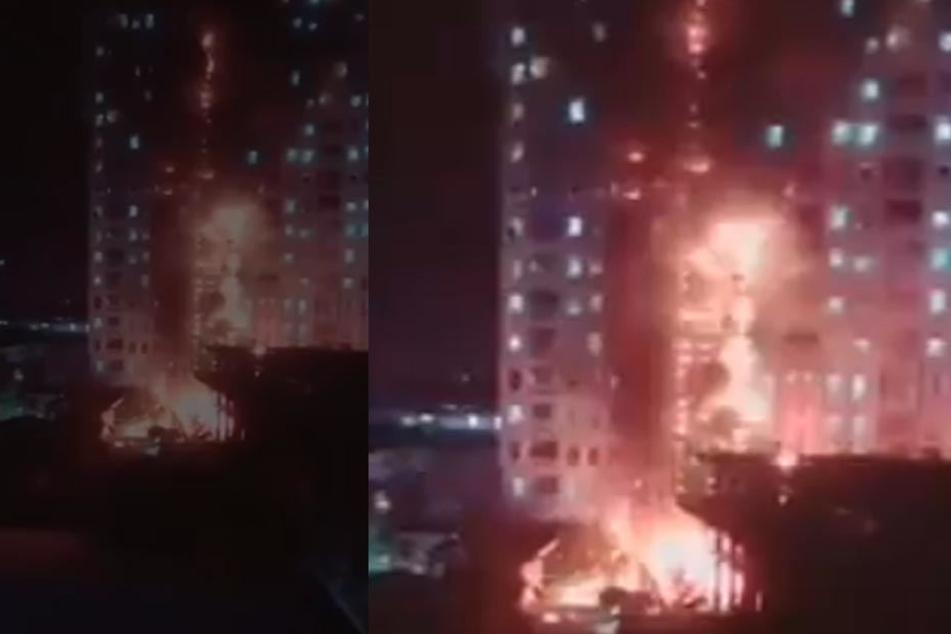 Der Brand breitete sich schnell bis in die oberen Geschosse des Hochhauses aus.