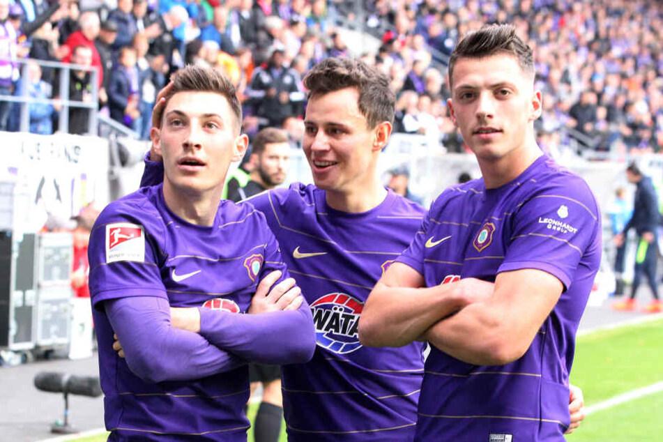 Clemens Fandrich (M.), Mario Kvesic (l.) und Nicolai Rapp kommen selbstbewusst nach Dresden.