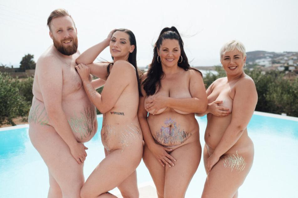 """Von links: Daniel Schneider, Silvana Denker, Paula Lambert und Sandra Wurster, die vier Coaches bei """"No Body is perfect""""."""