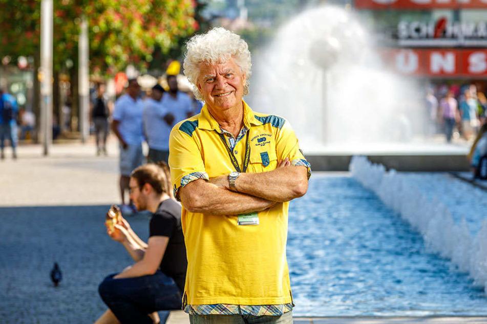 Alles echt: Die Prachtlocken sind das Markenzeichen von Joachim Schlese (77),  dem Erfinder des Dixieland-Festivals.
