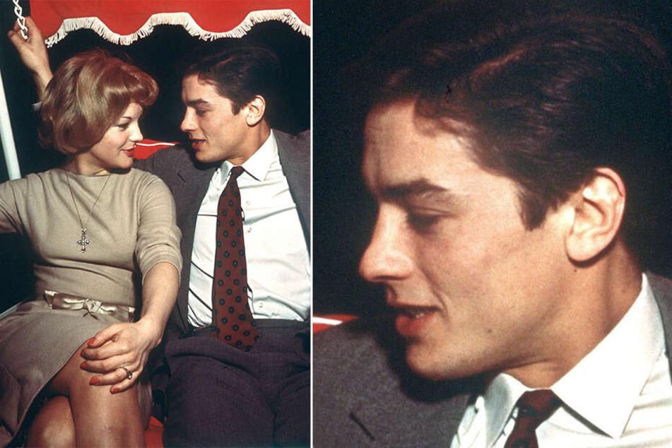 Traumpaar: Die österreichische Schauspielerin Romy Schneider sitzt neben ihrem damaligen Verlobten Alain Delon auf einer Hollywoodschaukel (undatiert).