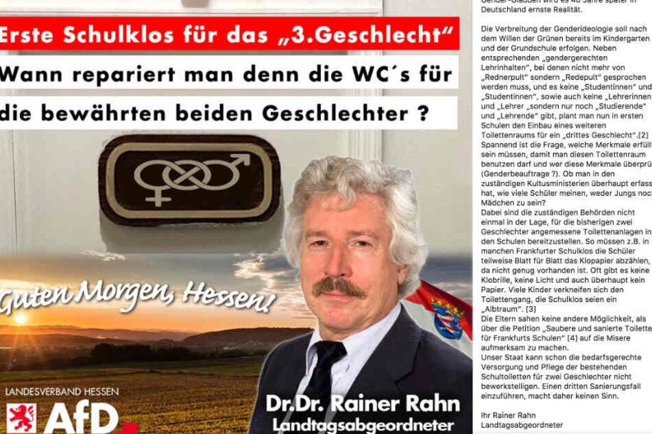 Das Bild zeigt einen Screenshot aus dem Facebook-Profil von Rainer Rahn.