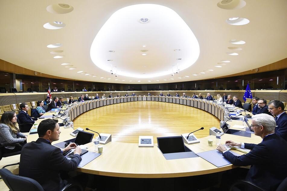 Blick in die Verhandlungsrunde über die künftigen Handelsbeziehungen der EU und Großbritannien im Europäischen Parlament in Brüssel. (Archivbild)