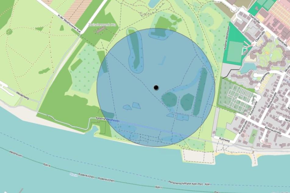 Eine Karte zeigt den Evakuierungsbereich wegen der Bombensprengung.
