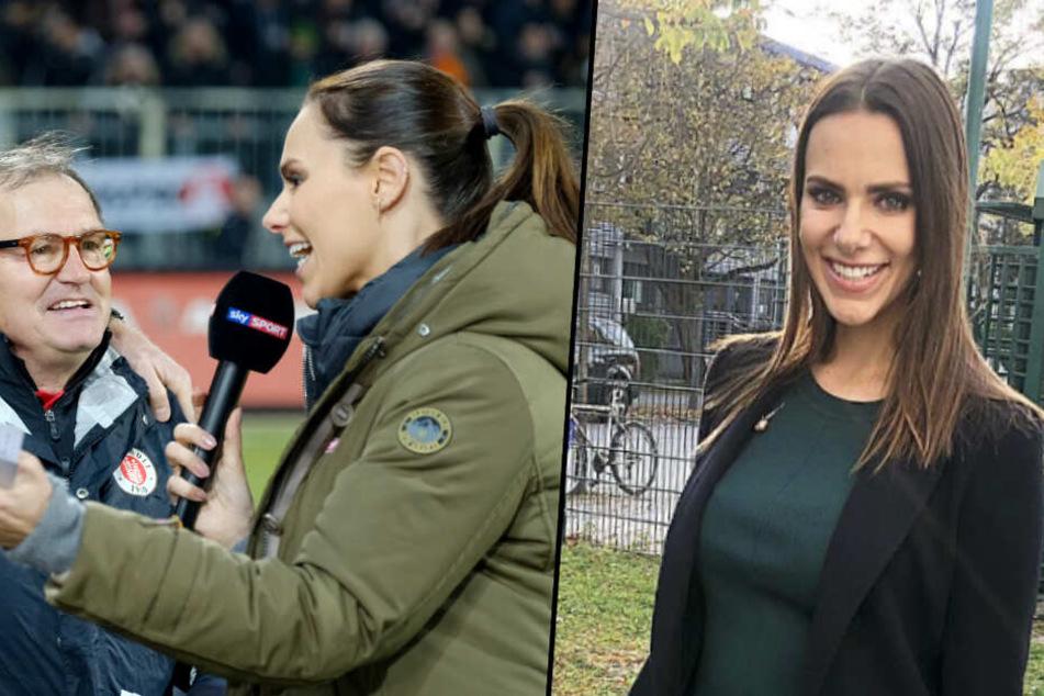Immer lächelnd: Esther Sedlaczek (r.) interviewt Bundesliga-Legende Ewald Lienen (l.).