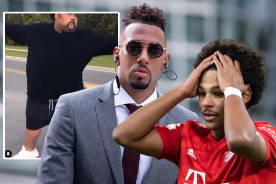 Jérôme Boateng (31, m) vergleicht seinen Kollegen Serge Gnabry (24, r) mit dem Mann im Video (l). (Bildmontage)
