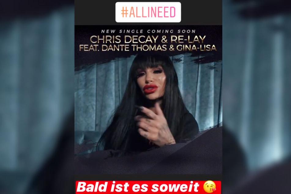 """Das Bild zeigt einen Screenshot der Instagram-Story, mit der Gina-Lisa Lohfink ihren neuen Song """"All I Need"""" ankündigte."""