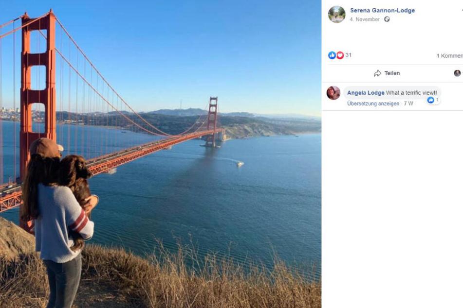 Serena Gannon-Lodge mit Millie vor der Golden Gate Bridge von San Francisco.