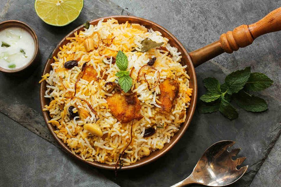 Fisch-Biryani mit Basmati-Reis: Eine typische Spezialität aus Indien.