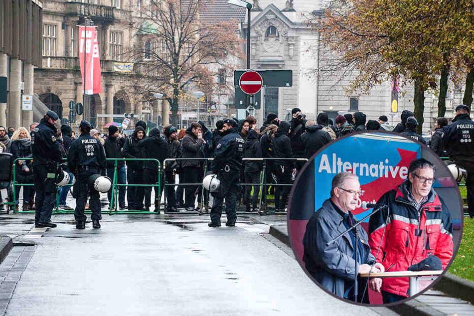 Großaufgebot der Polizei hält gegnerische Demonstranten auseinander