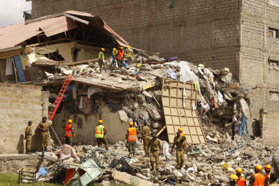 Das Gebäude in Nairobi ist komplett in sich zusammengebrochen.