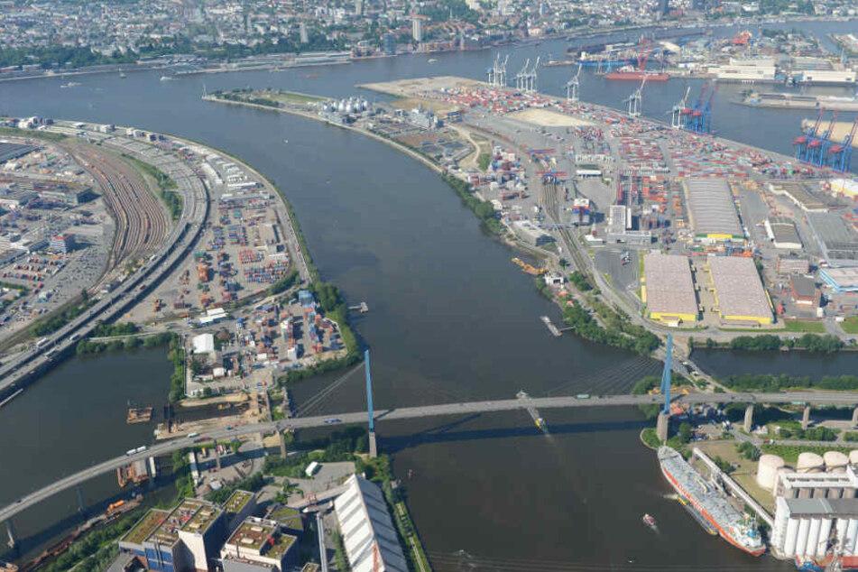Der Hamburger Hafen mit der Köhlbrandbrücke aus der Luft aufgenommen. (Archivbild)