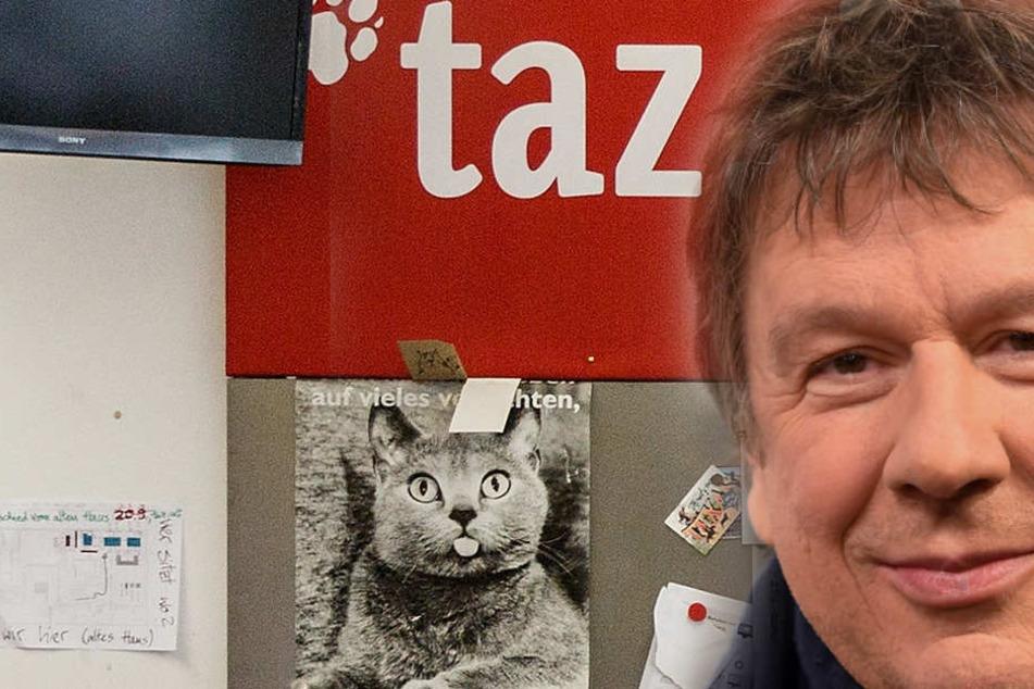 "Wettermann Jörg Kachelmann kündigt TV-Comeback an und ärgert sich infolge über die Berichterstattung der Berliner Zeitung ""taz"". (Fotomontage)"