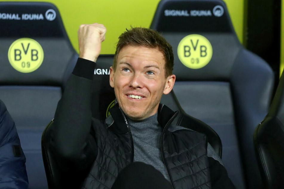 Julian Nagelsmann (32) kann mit RB Leipzig am Samstag durch einen Heimsieg gegen den FC Augsburg die Herbstmeisterschaft klarmachen.