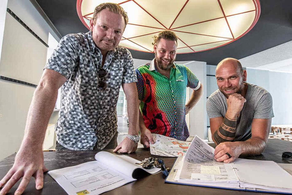 Sie planen das Chemnitzer Bürgerfest: Rico Illgen (42, v.l.), Chris Dietrich (35) und Volker Beyer (41).