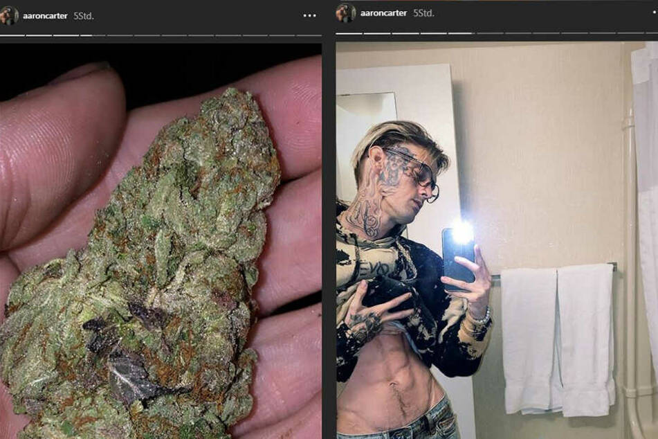 Schockierende Bilder von Aaron. Links der Post mit der Cannabis-Blüte, rechts ein Foto, in dem er stolz sein Sixpack präsentiert.