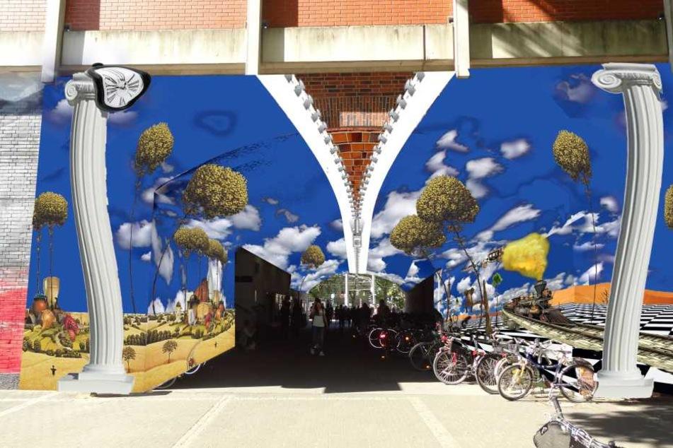 So sieht die Visualisierung des fertigen Kunstwerks am Bahnhof in Köln-Ehrenfeld aus.