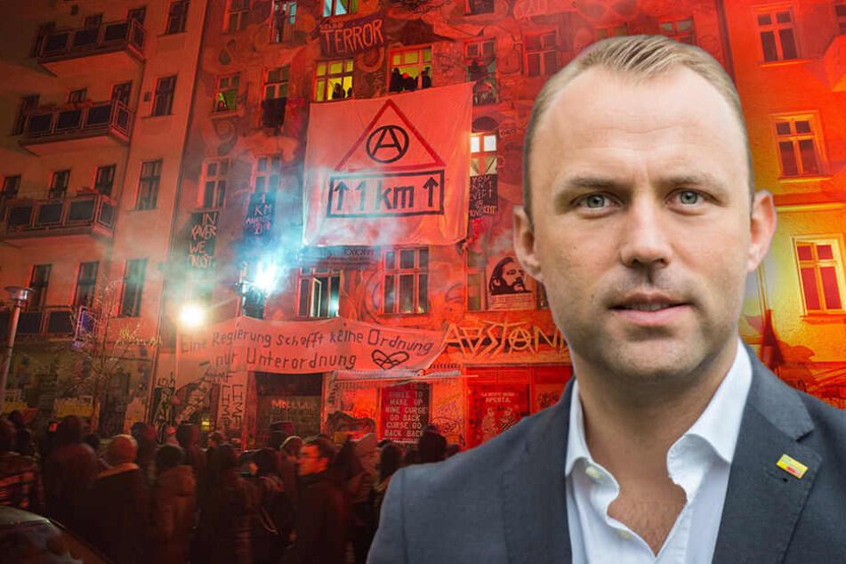 Sebastian Czaja ist besorgt über die aktuellen Entwicklungen. Ein Masterplan für die Rigaer Straße 94 muss her. (Bildmontage)