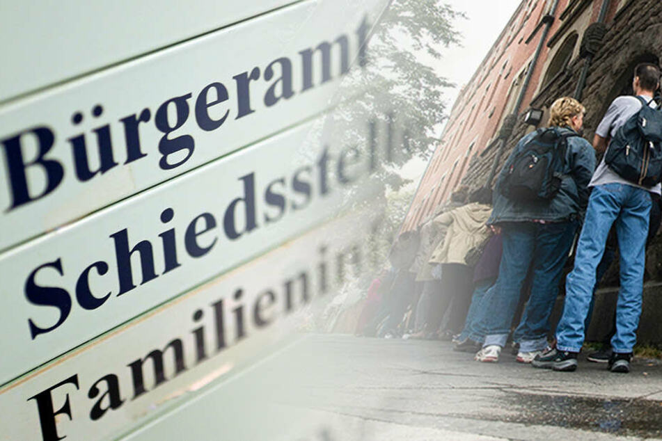 Normales Bild in Berlin: Am Bürgeramt in der Sonnenallee hat sich eine lange Schlange gebildet. Der Personalnotstand zwingt Kunden zu erheblichen Wartezeiten. (Bildmontage)