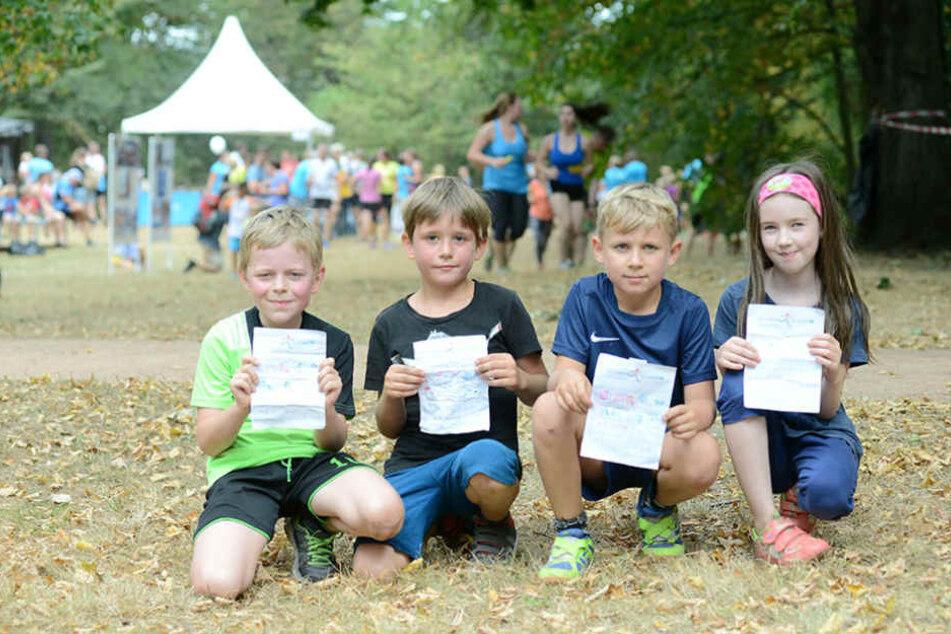 Toll! Auch Kinder liefen mit: Richard (v.l., alle 8), Tomke, Till und  Marylin.