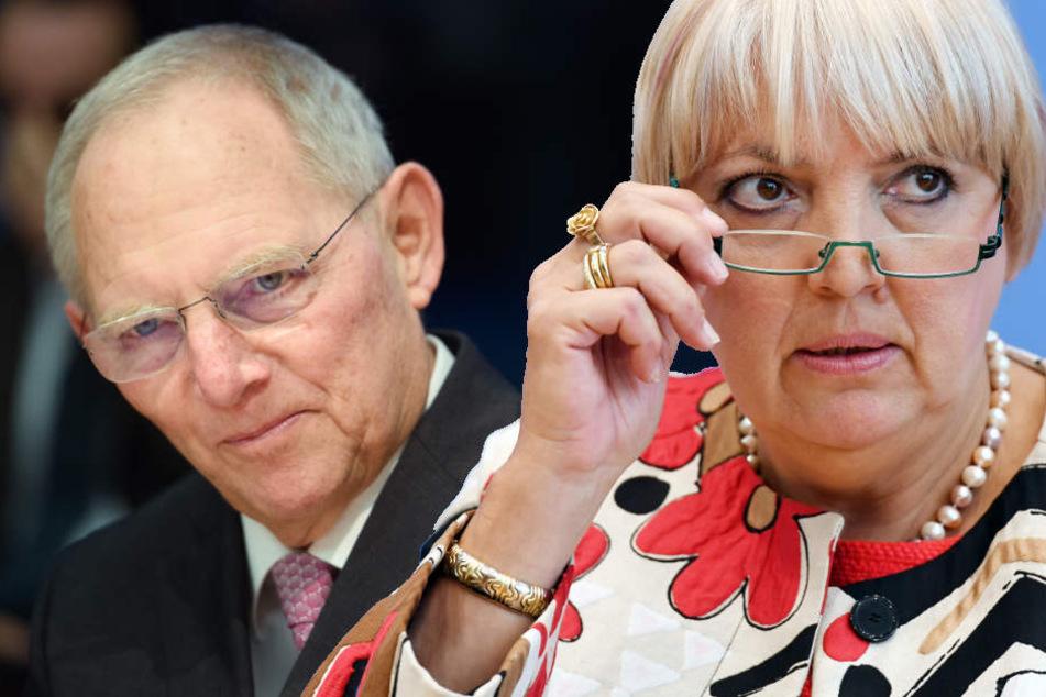 Sogar Morddrohungen erhielt Claudia Roth nach dem Verweis von Seitz. Schäuble wollte seine Kollegin daraufhin schützen. (Bildmontage)