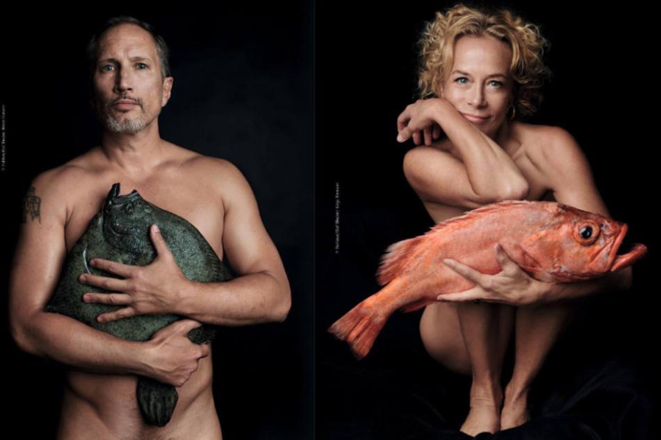 Auch Benno Fürmann (46) und Katja Riemann (54) fordern ein Ende der Überfischung in der Ostsee. (Bildmontage)